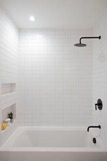 showers subway tile walls design photos