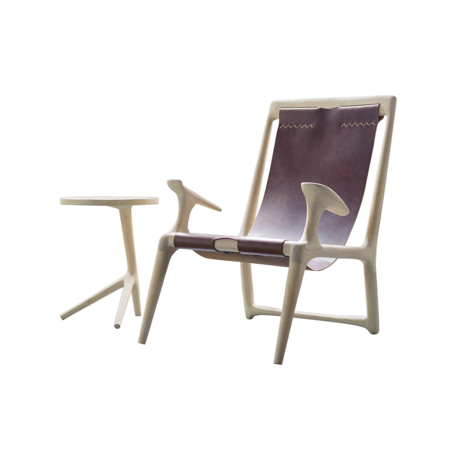 Fernweh Woodworking White Ash Leather Sling Chair By