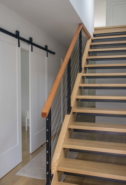 Best 4 Modern Staircase Cable Railing Wood Railing Design Photos   Wood And Cable Stair Railing   Stairway   Wrought Iron   Staircase Railing   White   Vertical