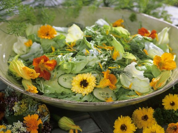Green Salad with Nasturtium and Marigold Flowers recipe   Eat     Green Salad with Nasturtium and Marigold Flowers