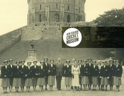 Photo: New Zealand Women's Cricket Team at Windsor Castle, 1954 Tour of England.; George Spearman Photography; 1954; 2016.40.5