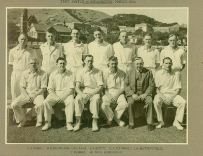 Photo: New Zealand Cricket Team versus Australia, Basin Reserve 29,30 March 1946; MAR 1946; 98/53