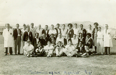 Photo: Fiji and Poverty Bay Cricket Teams, Gisborne, March 1948; Unknown; MAR 1948; 2009.66.2