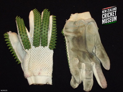 Gloves like these were common on cricket pitches t...