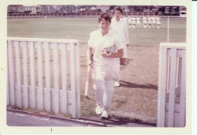 Photo: New Zealand batters walk off field. Basin Reserve 1969.; Kodachrome Print by Kodak; 1969; 2018.5.44