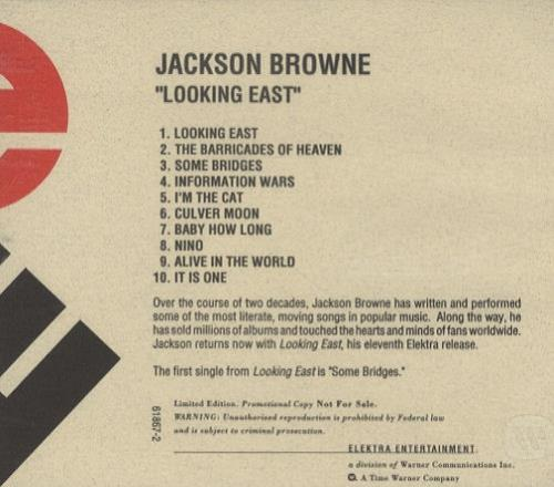 Jackson Browne Looking East US Promo CD Album CDLP 201310