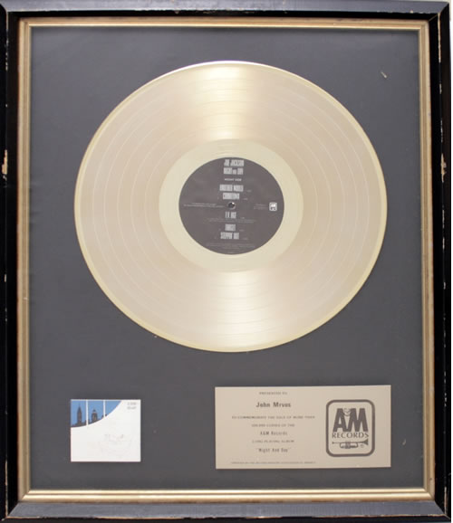 Joe Jackson Night And Day - Gold Award in-house award disc US JOJAINI560874
