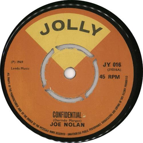 "Joe Nolan Confidential 7"" vinyl single (7 inch record) UK 0PG07CO731765"