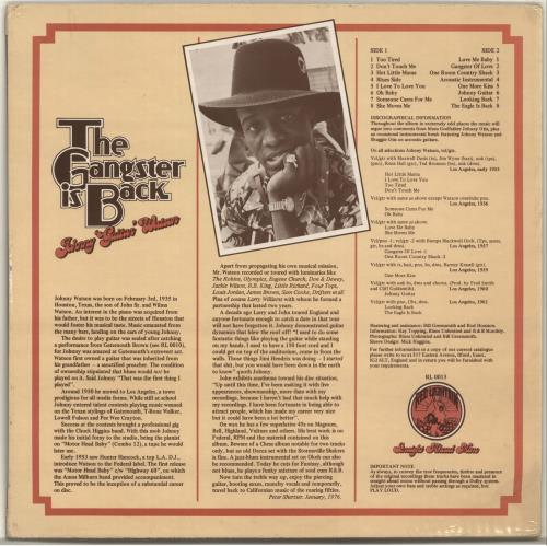 Too tired lyrics by johnny guitar watson. Johnny Guitar Watson The Gangster Is Back UK vinyl LP ...