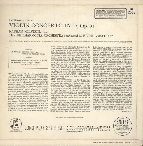 Ludwig Van Beethoven Beethoven: Violin Concerto - 1st Issue vinyl LP album (LP record) UK LVBLPBE745922