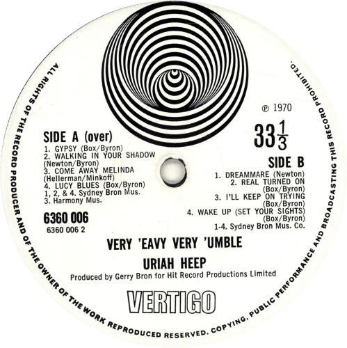 Uriah Heep Very 'eavy Very 'umble - 2nd Lrg Swirl vinyl LP album (LP record) UK URILPVE602615