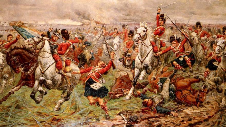 'La carga de los escoceses grises en Waterloo', de Stanley Berkeley