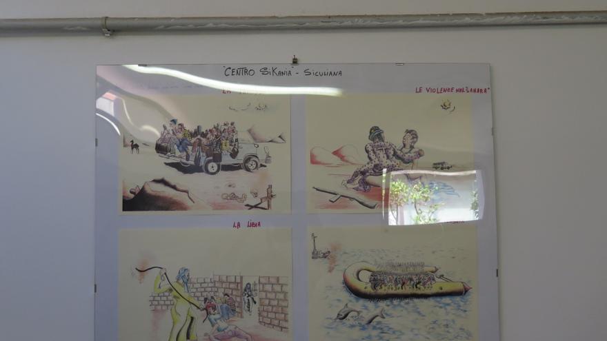 Dibujos sobre las torturas y los riesgos que sufren las personas migrantes y refugiadas en Libia © AI