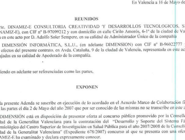 Documento privado que acredita que la empresa de Tauroni estaba tras las adjudicaciones de Blasco.