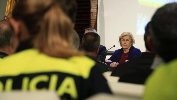 La alcaldesa de Madrid, Manuela Carmena, durante la presentación del nuevo Plan Director de la Policía Municipal