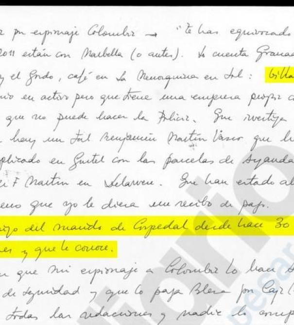 Manuscrito incautado a Ignacio González durante la Operación Lezo