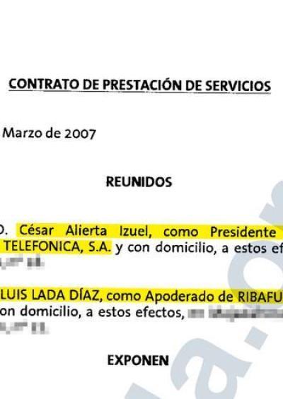 Contrato firmado por Luis Lada y César Alierta.