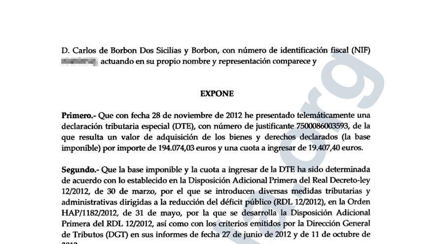 Documento explicativo de la Declaración Tributaria Especial (DTE) presentada por Carlos de Borbón