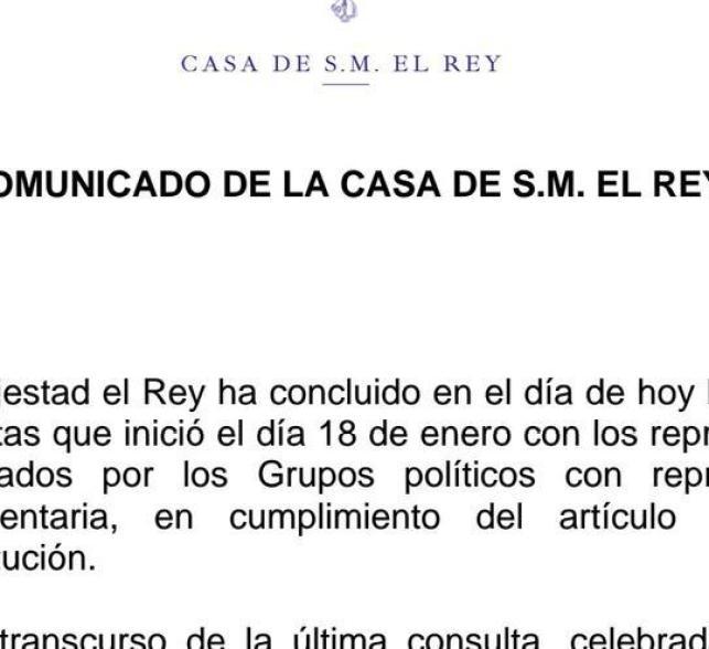 Fragmento del comunicado de la Casa Real