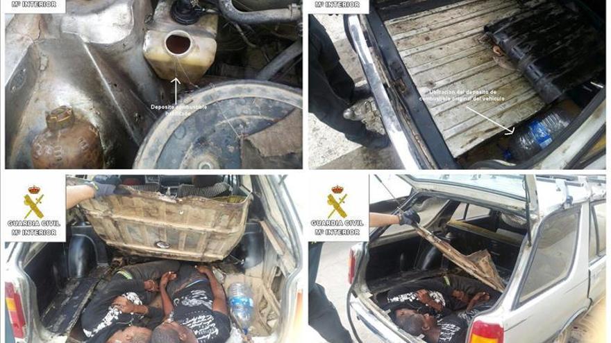 Rescatan a un inmigrante que pedía auxilio en el salpicadero de un coche