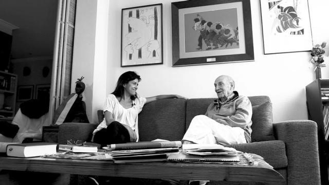 Olga Rodríguez entrevista a Marcos Ana para eldiario.es \ Foto: Alejandro Navarro Bustamante