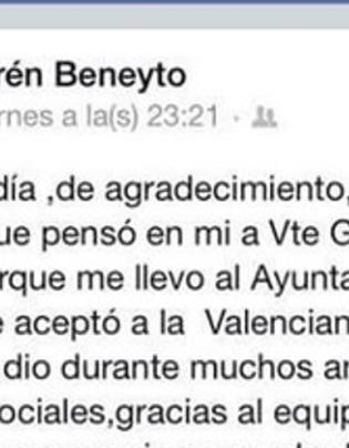 El mensaje de texto que Beneyto escribió en Facebook