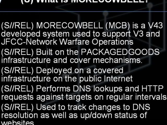 Captura de pantalla de una de las diapositivas del documento de la NSA que presenta el programa MORECOWBELL