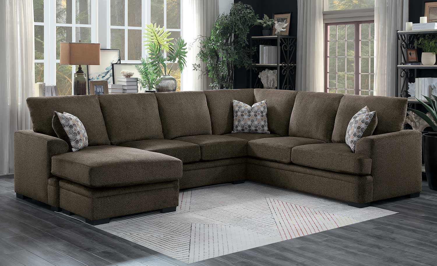 homelegance maddy sectional sofa set brown