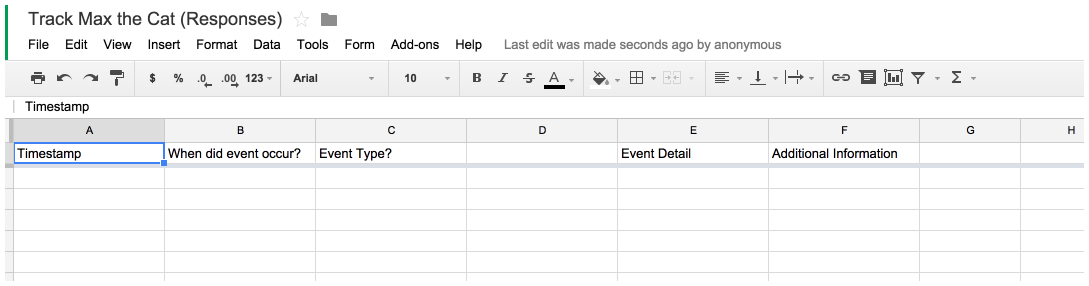 The Google Form response spreadsheet