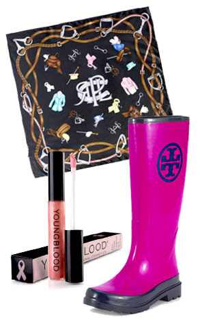 Ralph Lauren Pink Pony Scarf, Youngblood Pink Hope Gloss, Tory Burch Rain Boot