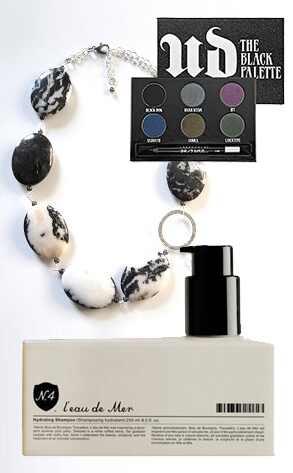 Amelia Rae Haven Necklace, Urban Decay Black Palette, N4 Hydrating Shampoo