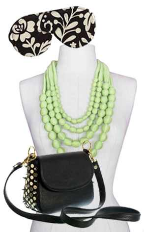Hammitt for True Blood Eric Handbag, Laura Langley Eco sleep mask, Droplet Necklace