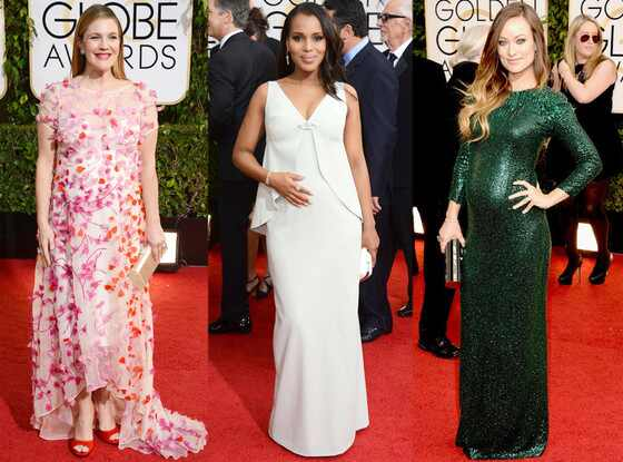 Kerry Washington, Olivia Wilde, Drew Barrymore, Golden Globes Baby Bumps