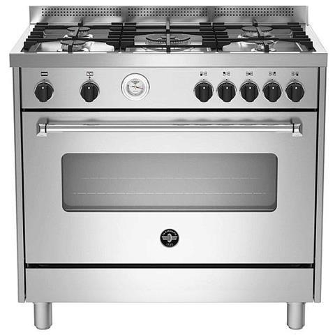 La Germania Cucina Elettrica Amn965exv 5 Fuochi A Gas Forno Elettrico Classe A Dimensioni 90 X 60 Cm Colore Inox Serie Americana