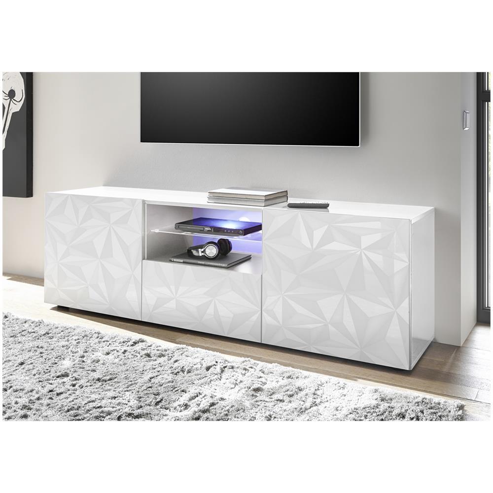 Salotto mondo convenienza gemini bianco, bianco lucido. Web Convenienza Prisma Porta Tv Contenitore 2 Ante 1 Cassetto Bianco Lucido Serigrafia Prismatica Eprice