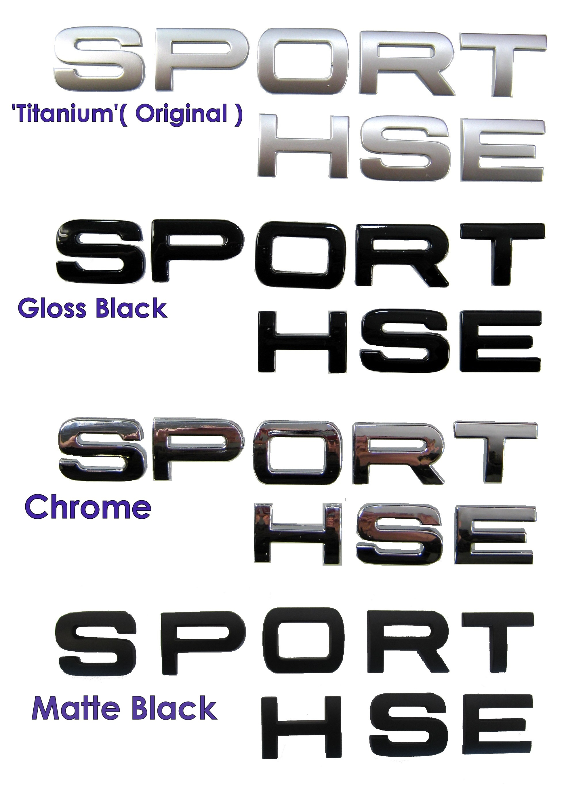 Gloss Black SPORT letters for Range Rover supercharged HST