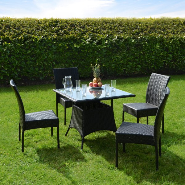 black wicker garden furniture New Aluminium Rattan Wicker Garden Furniture Table & 4