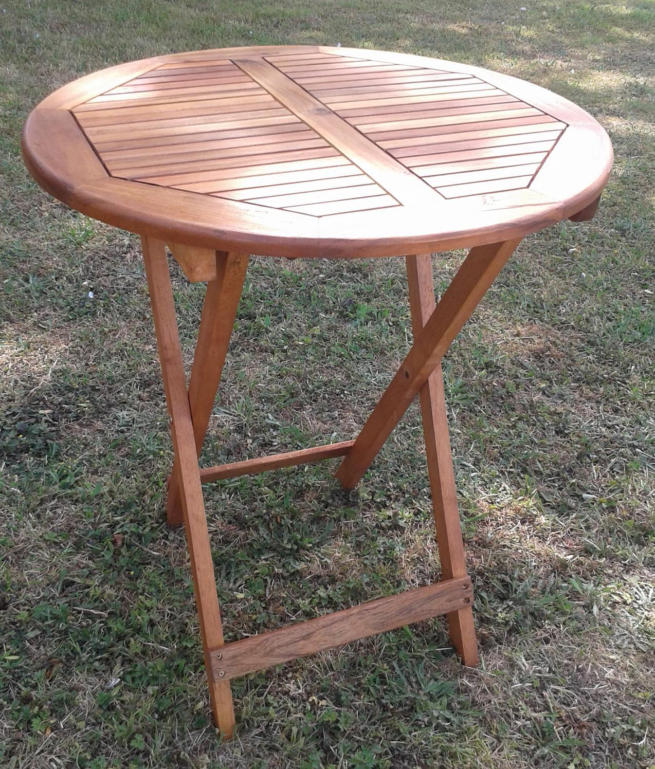 acacia wood folding table for garden amp patio 75cm on Circular Folding Dining Table id=16596