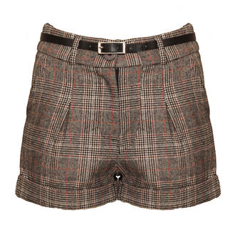 View Item Grey Checked Belted Shorts