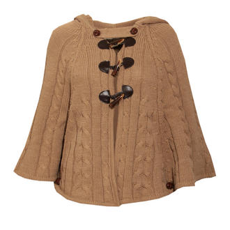View Item Beige Toggle Knit Cape