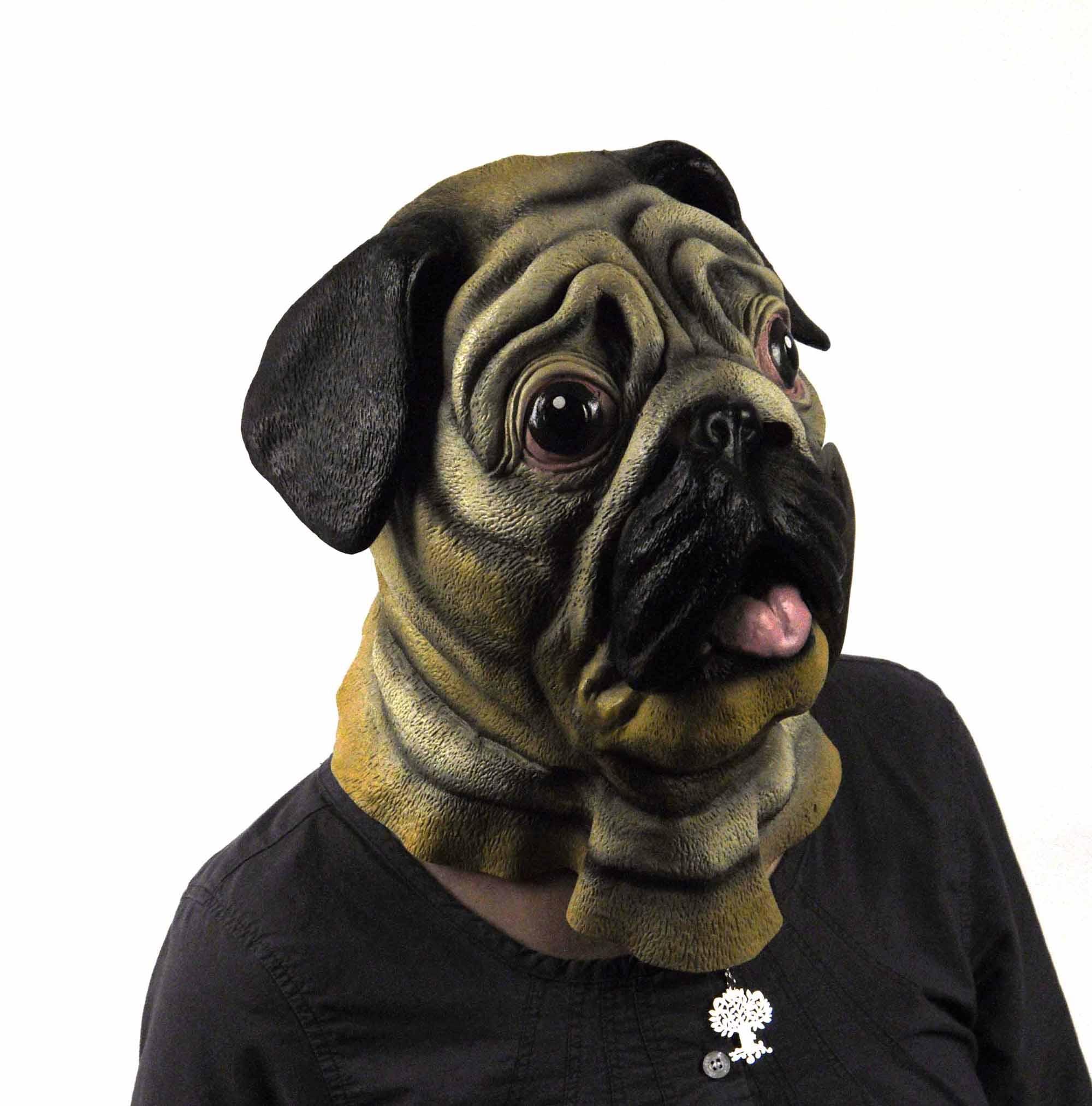 Pug Dog Head Lifesize Head Mask EBay