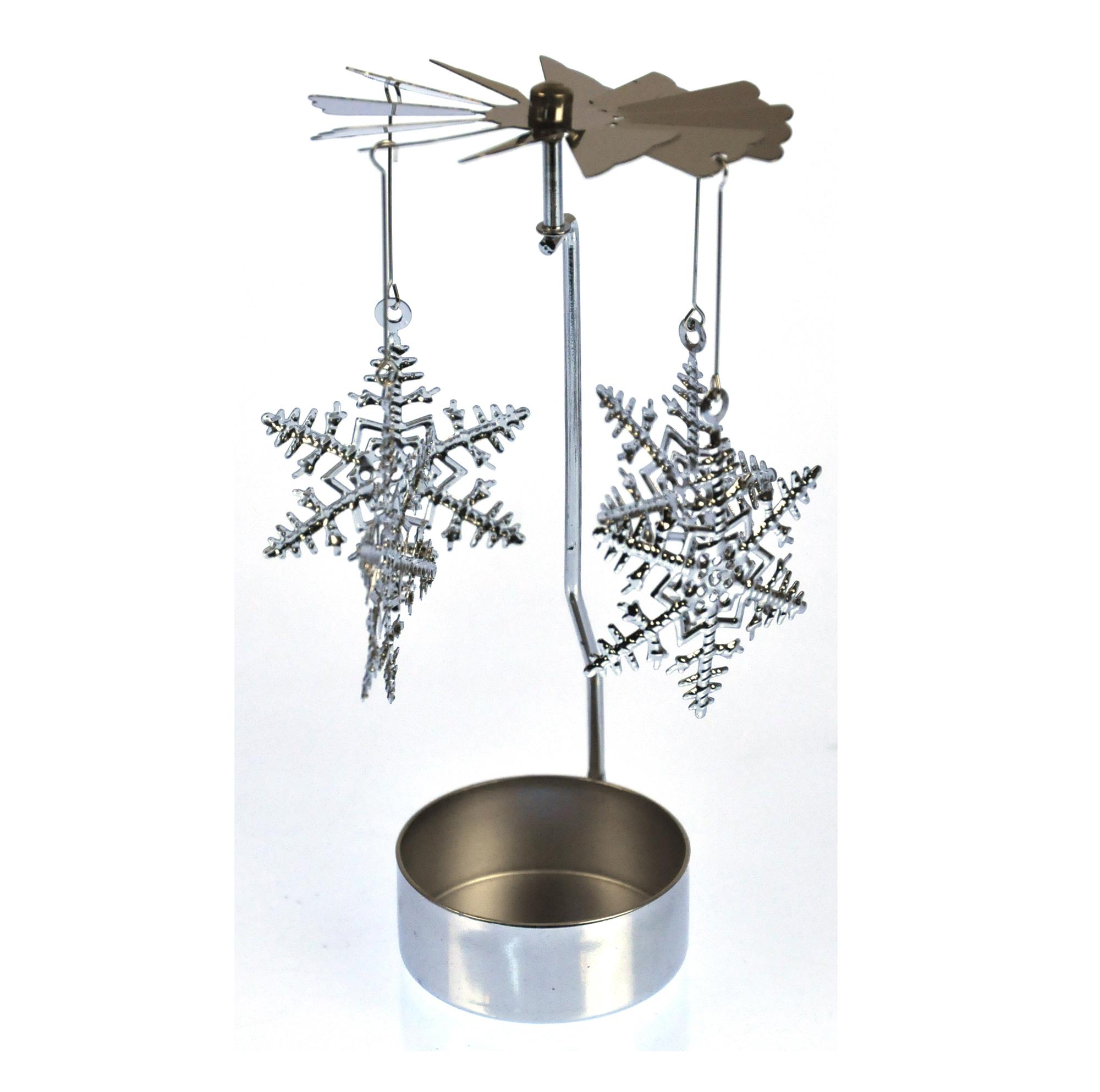 Snowflake Silver Rotating Tea Light Holder T Light