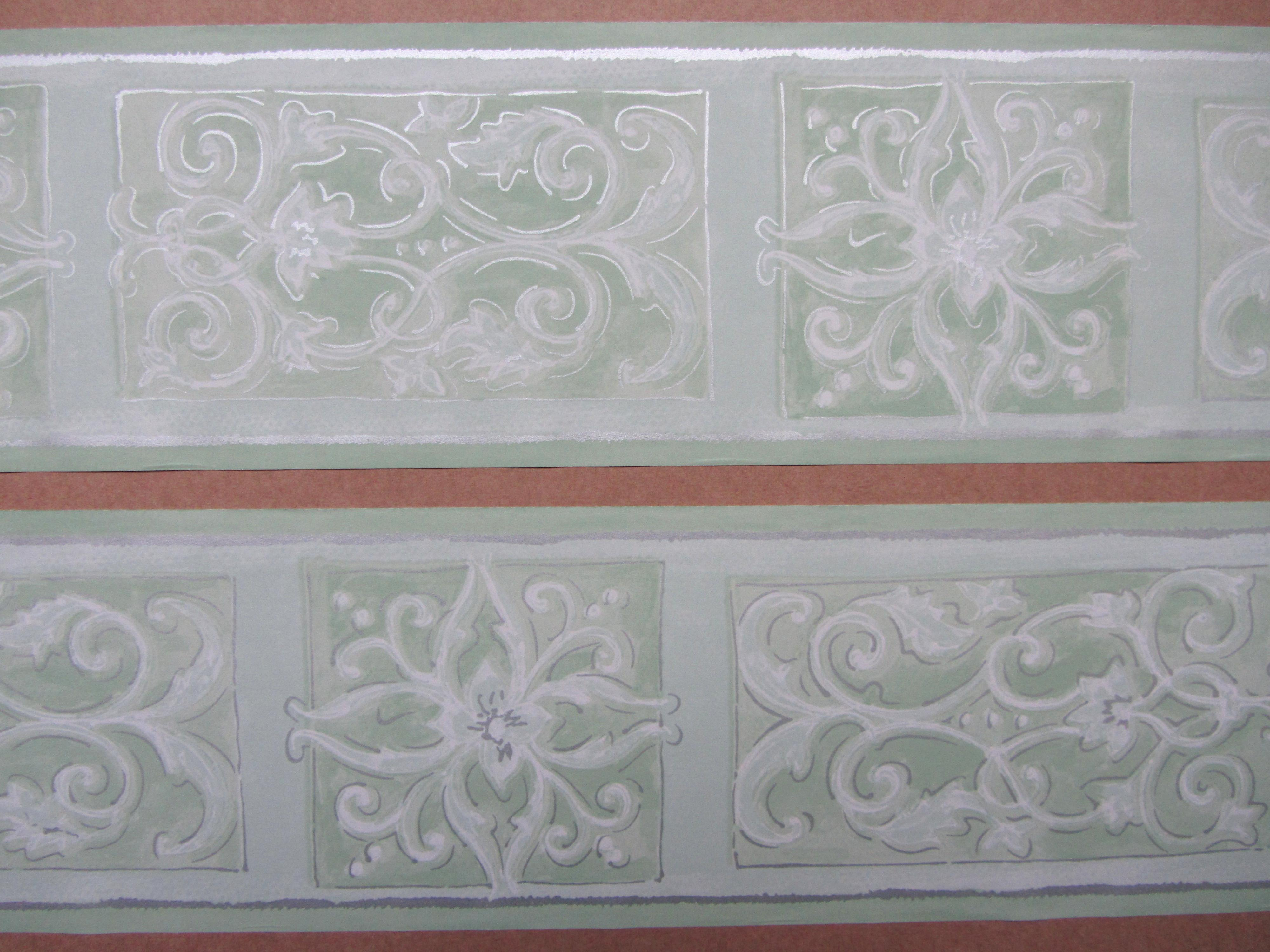 ORNATE SCROLL GREEN WALLPAPER BORDER SELF ADHESIVE BEDROOM