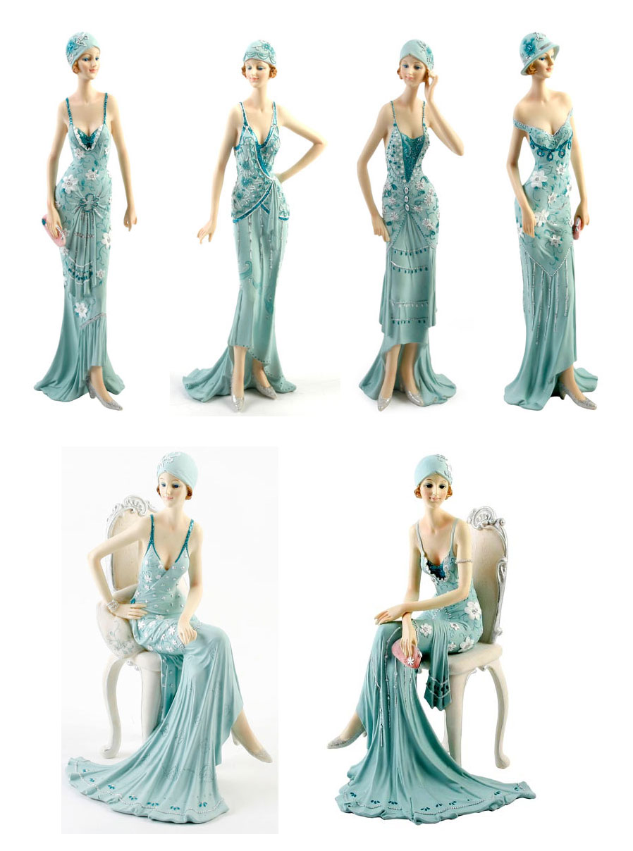 Art Deco Broadway Belles Lady Figurine Gift Ornament Blue