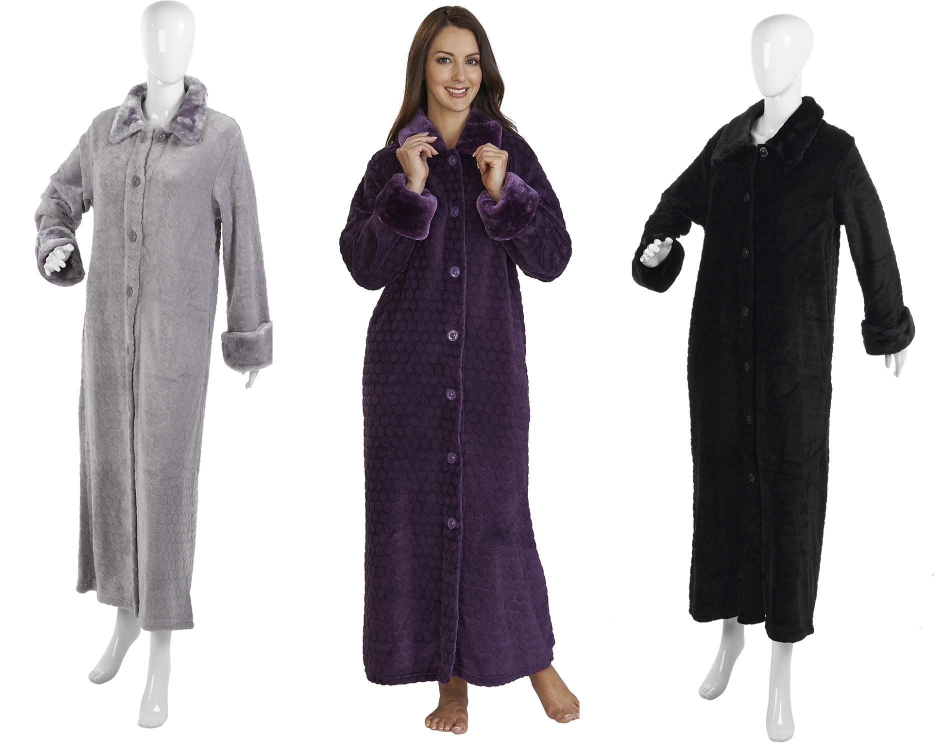 Slenderella Luxury Button Up Dressing Gown Ladies Soft