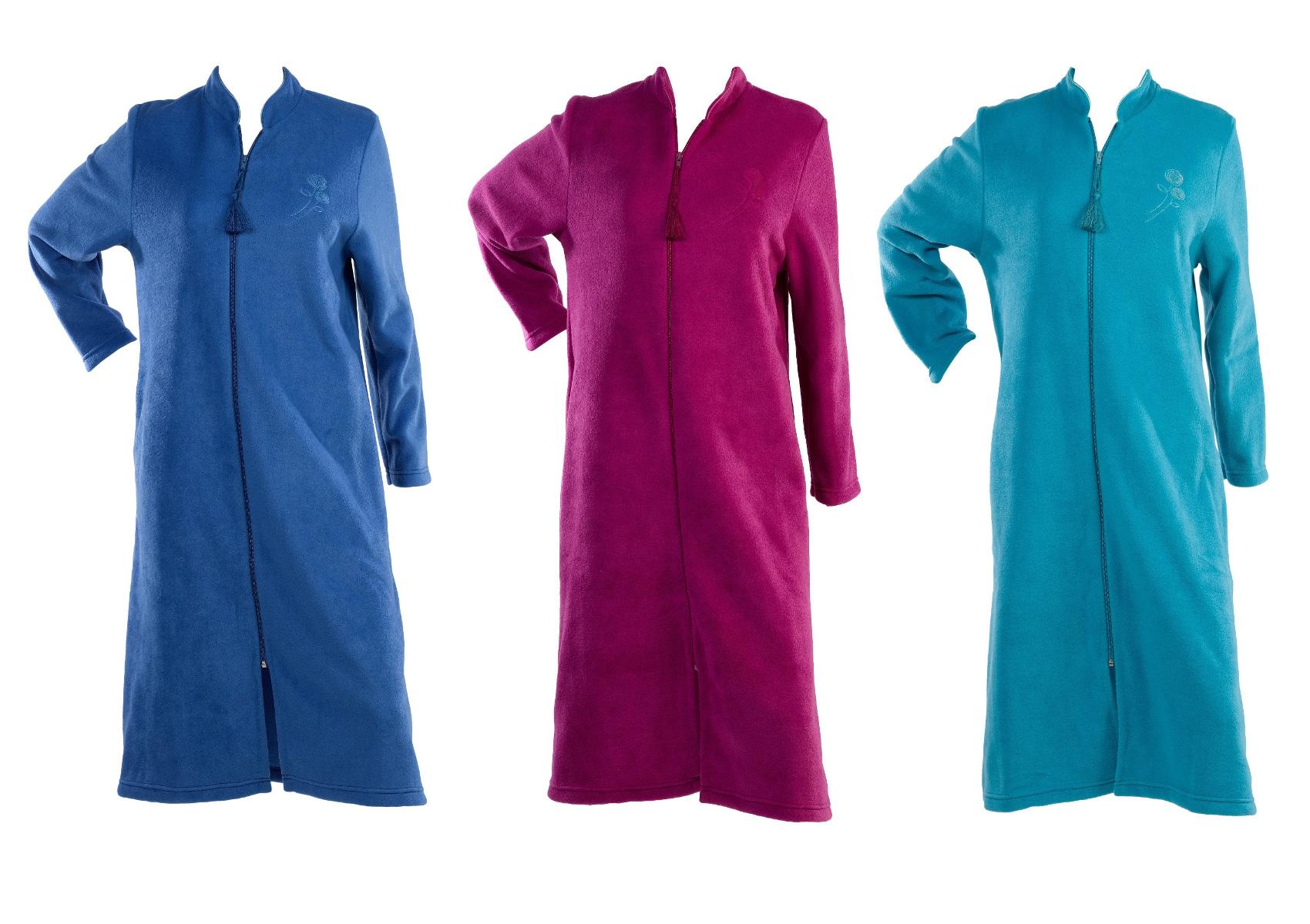 Dressing Gown Womens Soft Polar Fleece Floral Detail Zip