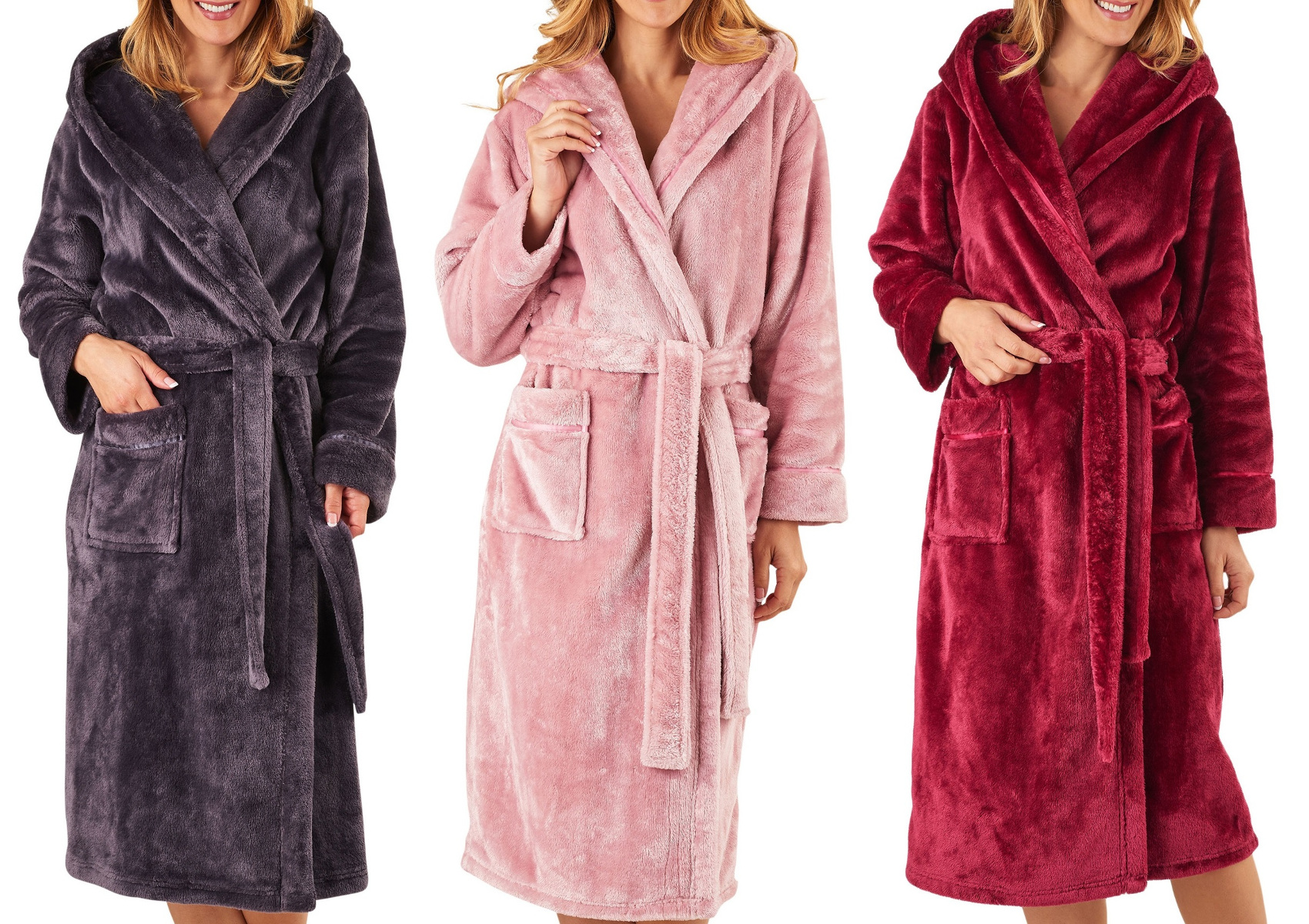 Dressing Gown Luxury Super Soft Thick Fleece Womens Hooded