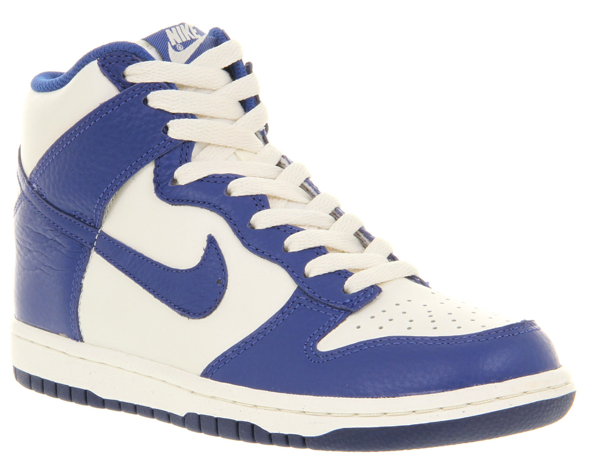 Nike Dunk Hi Sail WhiteOld Royal Blue Leather Casual Lace Up Trainer Shoes EBay