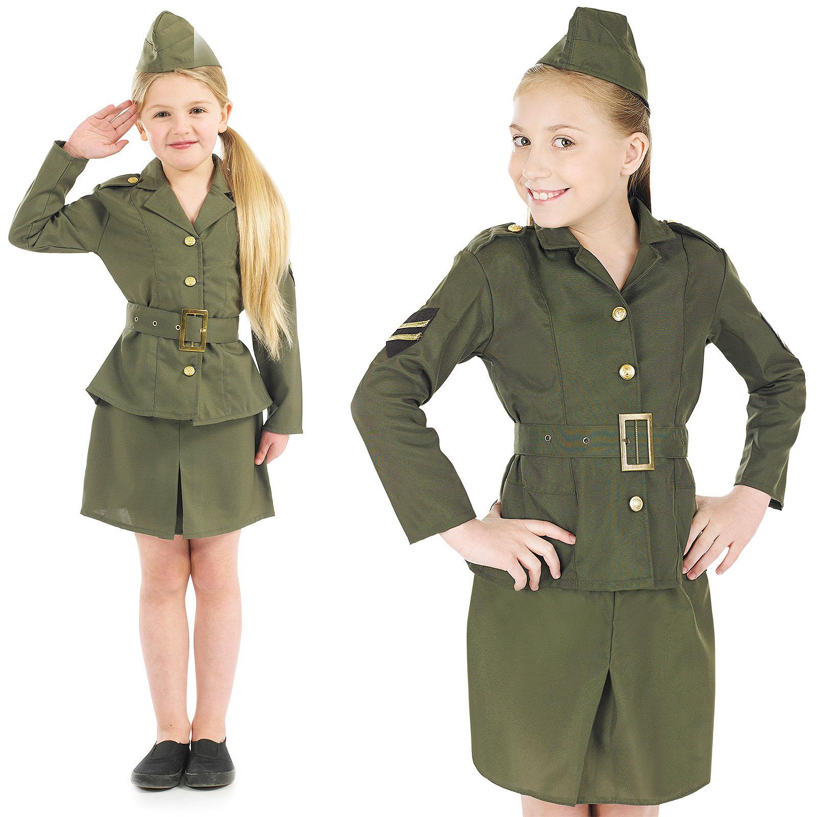 Childrens Ww2 Army Girl Fancy Dress Costume 40s World War