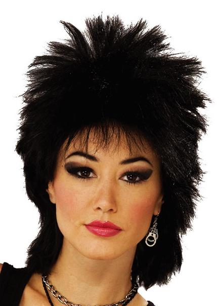 Black Punk Wig Rocker Emo Mullet Goth 80S Tina Turner